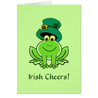 Funny Irish Frog Leprechaun Hat Greeting Card