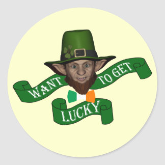 Funny Irish  lucky leprechaun Round Sticker
