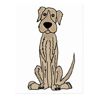 Funny Irish Wolfhound Puppy Dog Art Postcard