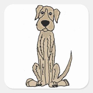 Funny Irish Wolfhound Puppy Dog Art Square Sticker
