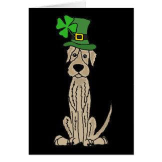 Funny Irish Wolfhound St. Patrick's Day Art Card
