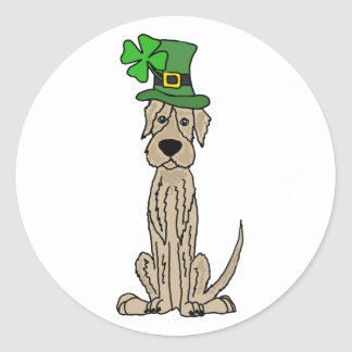 Funny Irish Wolfhound St. Patrick's Day Art Classic Round Sticker