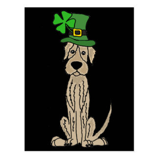 Funny Irish Wolfhound St. Patrick's Day Art Postcard