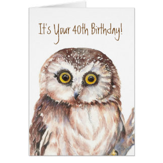Funny,It's Your 40th Birthday! Shocked at Age, Owl Card