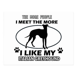 Funny jack italian greyhound designs postcard