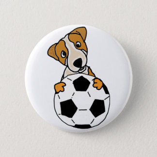 Funny Jack Russell Dog Playing Soccer or Football 2 Inch Round Button
