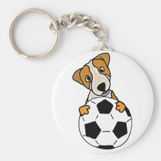 Funny Jack Russell Dog Playing Soccer or Football Basic Round Button Keychain