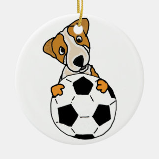 Funny Jack Russell Dog Playing Soccer or Football Ceramic Ornament