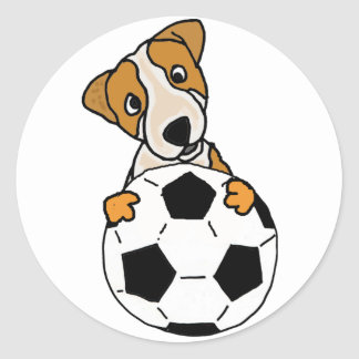 Funny Jack Russell Dog Playing Soccer or Football Classic Round Sticker