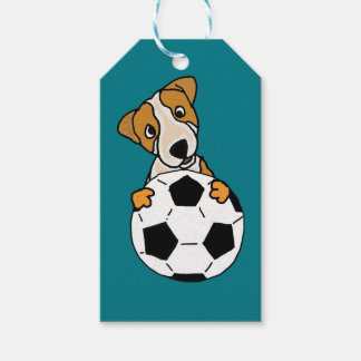 Funny Jack Russell Dog Playing Soccer or Football Gift Tags