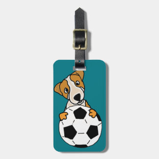 Funny Jack Russell Dog Playing Soccer or Football Luggage Tag