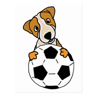 Funny Jack Russell Dog Playing Soccer or Football Postcard
