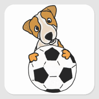 Funny Jack Russell Dog Playing Soccer or Football Square Sticker