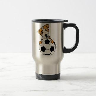 Funny Jack Russell Dog Playing Soccer or Football Travel Mug