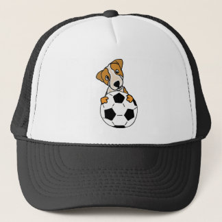 Funny Jack Russell Dog Playing Soccer or Football Trucker Hat