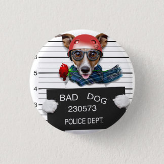Funny jack russell ,Mugshot dog 1 Inch Round Button