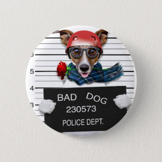 Funny jack russell ,Mugshot dog 2 Inch Round Button