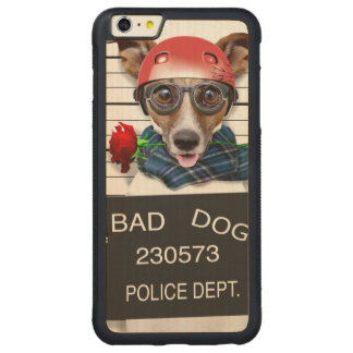 Funny jack russell ,Mugshot dog Carved Maple iPhone 6 Plus Bumper Case