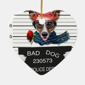 Funny jack russell ,Mugshot dog Ceramic Ornament