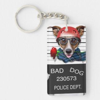 Funny jack russell ,Mugshot dog Double-Sided Rectangular Acrylic Keychain