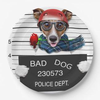 Funny jack russell ,Mugshot dog Paper Plate