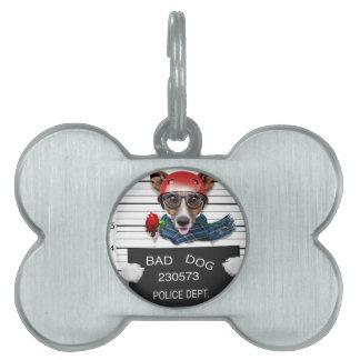 Funny jack russell ,Mugshot dog Pet ID Tag