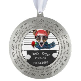 Funny jack russell ,Mugshot dog Pewter Ornament