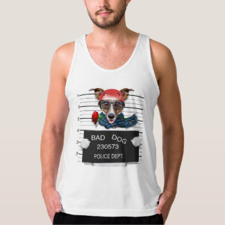 Funny jack russell ,Mugshot dog Tank Top