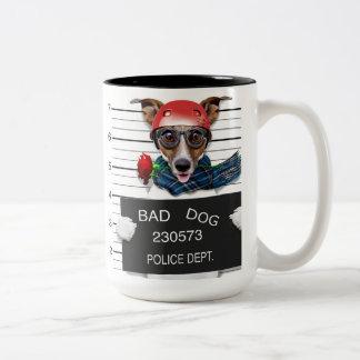 Funny jack russell ,Mugshot dog Two-Tone Coffee Mug