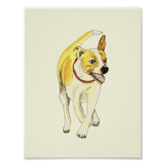 Funny Jack Russell novelty watercolour art poster