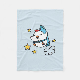 Funny Jetpack Chicken Design Fleece Blanket