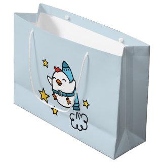 Funny Jetpack Chicken Design Large Gift Bag