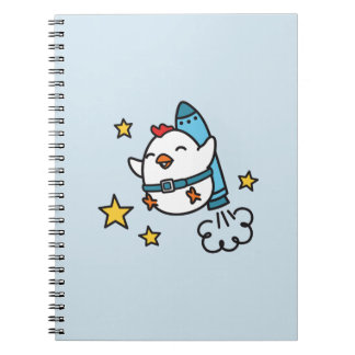 Funny Jetpack Chicken Design Notebooks
