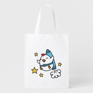 Funny Jetpack Chicken Design Reusable Grocery Bag