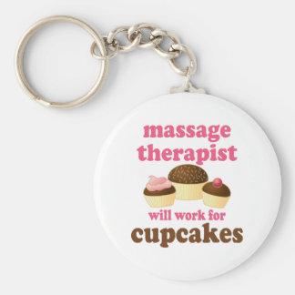 Funny Job Chocolate Massage Therapist Basic Round Button Keychain