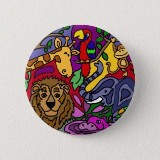 Funny Jungle Abstract Art Original 2 Inch Round Button