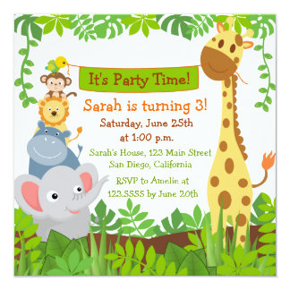 Funny Jungle Animals Birthday Party Invitations