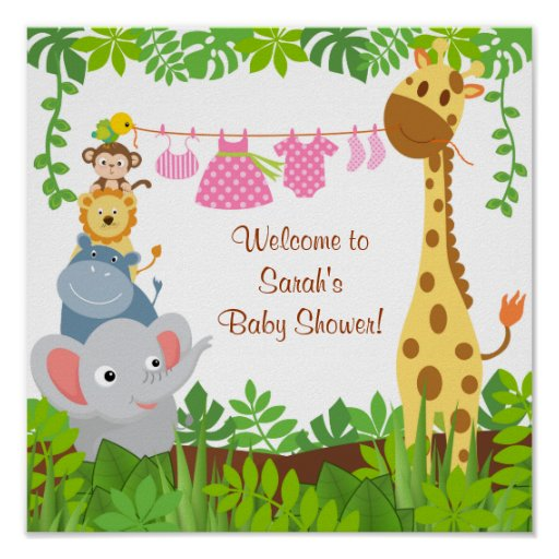 Funny Jungle Baby Animals Baby Shower Poster Poster