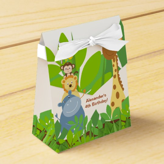 Funny Jungle Baby Animals Tent Favour Box Favor Boxes