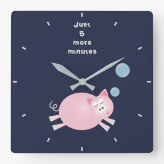 Funny Just 5 More Minutes Dream Big Sleepy Pig Square Wall Clock