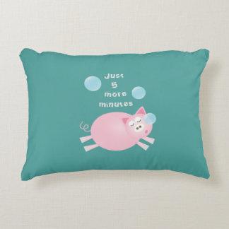 Funny Just Five More Minutes Dream Big Sleepy Pig Accent Pillow