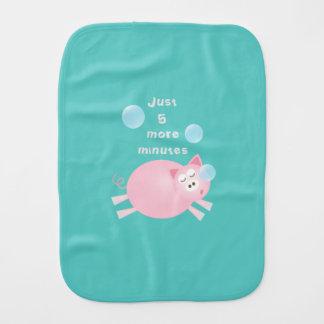 Funny Just Five More Minutes Dream Big Sleepy Pig Burp Cloth