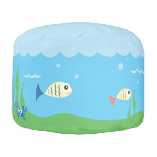 Funny Just Keep Swimming Underwater Ocean Fish Pouf