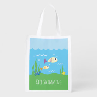 Funny Just Keep Swimming Underwater Ocean Fish Reusable Grocery Bag