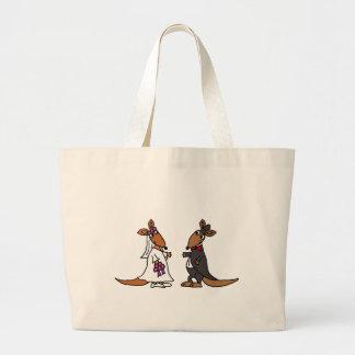 Funny Kangaroo Bride and Groom Wedding Design Jumbo Tote Bag