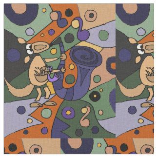 Funny Kangaroo Playing Saxophone Art Fabric