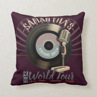 Funny Karaoke Queen Retro 45 Record And Microphone Throw Pillow