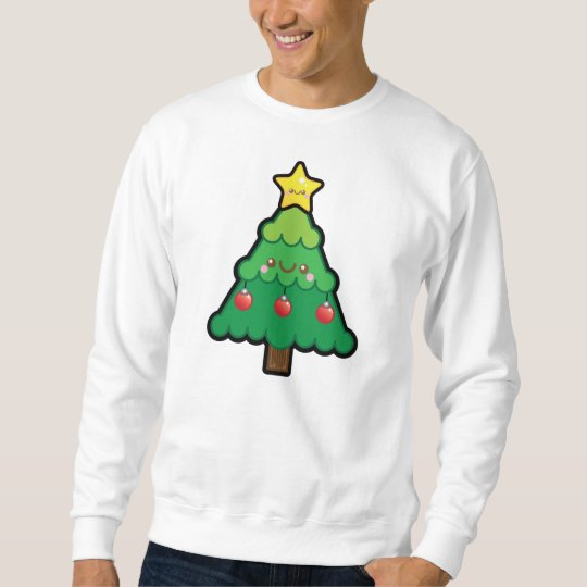 Funny Kawaii Christmas Tree Mens Jumper Sweatshirt
