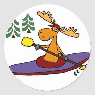 Funny Kayaking Moose Round Sticker