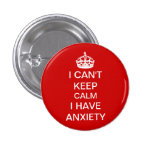 Funny Keep Calm and Carry On Anxiety Spoof Red 1 Inch Round Button